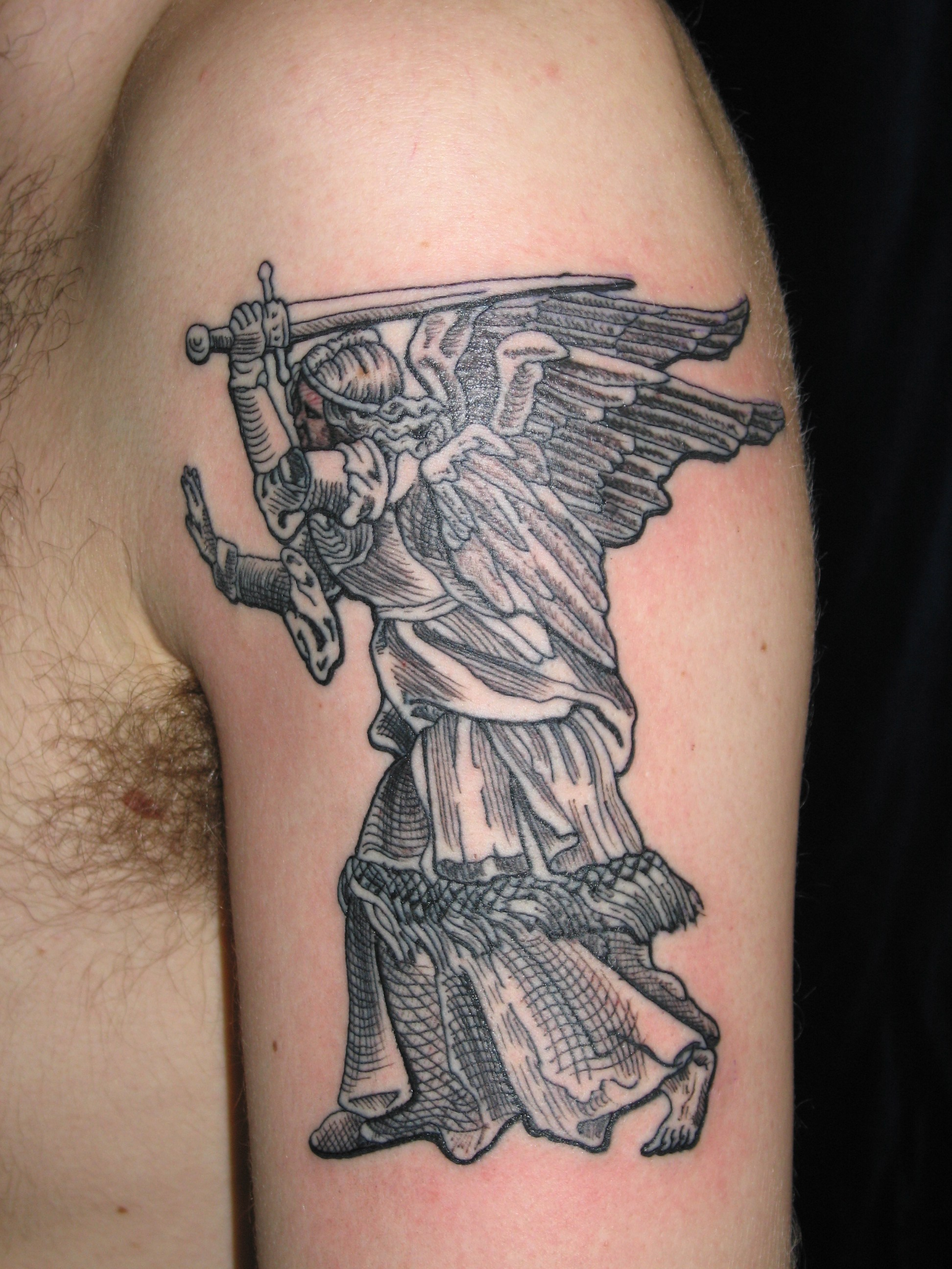 irish street tattoo st michael the avenging angel irish st tattoo. Black Bedroom Furniture Sets. Home Design Ideas