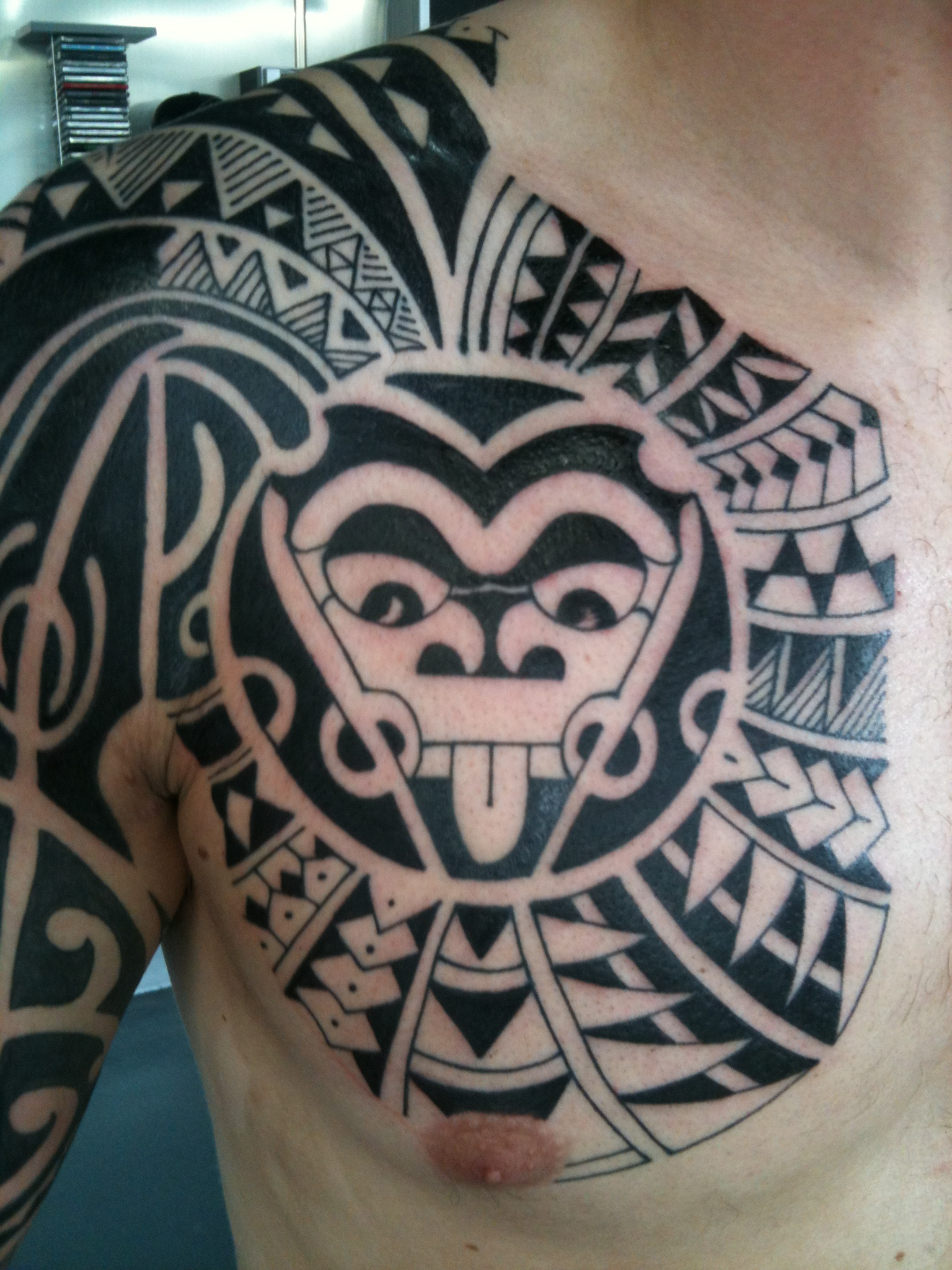 Maori Tribal Tattoo Designs Chest: Irish Street Tattoo The Rock Style Freehand Polynesian