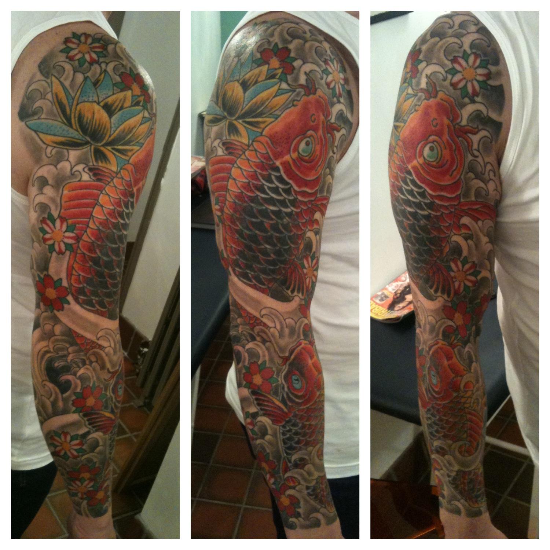 Finished 2 koi carp cover-up tattoo sleeve liverpool | IRISH ST TATTOO