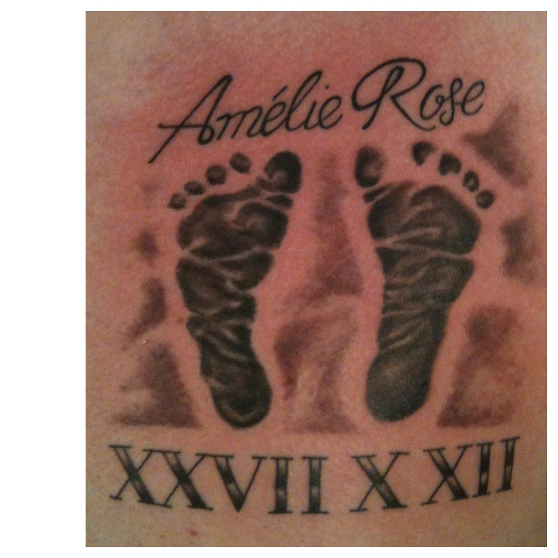 Babies Name Date And Footprints Tattoo For Mum Dad Irish St Tattoo