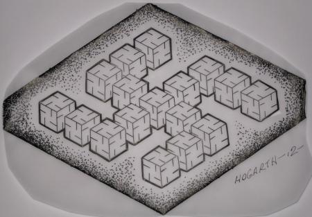 Geometric Sayagata pattern made up of cubes.