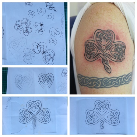 My client wanted a Celtic Shamrock and yes, I could have copied one off the web, but I wasn't happy with them. So here's what I drew up from scratch. Yes it wasn't easy and took a while to draw.